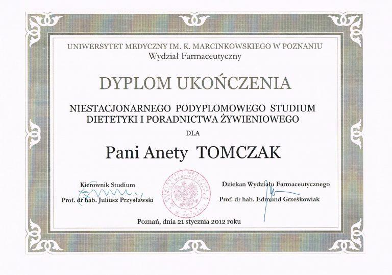 Dyplom Dietetyk Aneta Tomczak